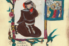 """A motif from """"Korizmenjak"""" (""""Quadragesimale""""), a portfolio of miniatures inspired by a 1508 collection of Lent sermons written in the Glagolitic alphabet, painted by Vjera Reiser."""