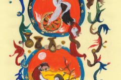 """""""Prophet Elijah"""". A motif from """"Korizmenjak"""" (""""Quadragesimale""""), a portfolio of miniatures inspired by a 1508 collection of Lent sermons written in the Glagolitic alphabet, painted by Vjera Reiser."""