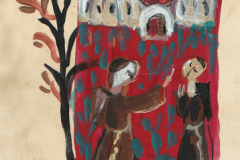 """""""The Tree of Obedience"""". A motif from """"Korizmenjak"""" (""""Quadragesimale""""), a portfolio of miniatures inspired by a 1508 collection of Lent sermons written in the Glagolitic alphabet, painted by Vjera Reiser."""