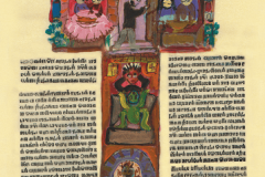 """""""The Miserly Son"""". A motif from """"Korizmenjak"""" (""""Quadragesimale""""), a portfolio of miniatures inspired by a 1508 collection of Lent sermons written in the Glagolitic alphabet, painted by Vjera Reiser."""