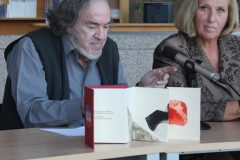 """Renowned Croatian poet Luko Paljetak and prominent Croatian graphic artist Maja S. Franković at the presentation of their """"From the library of Mrs Sei Shõnagon: Chinese poems"""" art books collection, published as part of the PRO AMICIS series."""