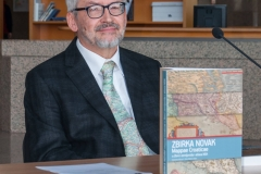 One of the monograph's consulting editors, professor at the Faculty of Geodesy at the University of Zagreb Miljenko Lapaine, at the presentation of the Library's monograph on one of Croatia's most valuable cartographic collections preserved as part of the NSK Map Collection.