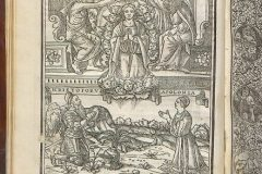 """Breviarium Romanum"", also referred to as The Frankapan Breviary (1518, Venice). Coronation of the Mother of Good, with Krsto I. Frankapan and Apollonia Frankapan kneeling beside. Woodcut by Giovanni Andrea Vavassore. Manuscripts and Old Books Collection, National and University Library in Zagreb, shelfmark RIIF-4°-361."