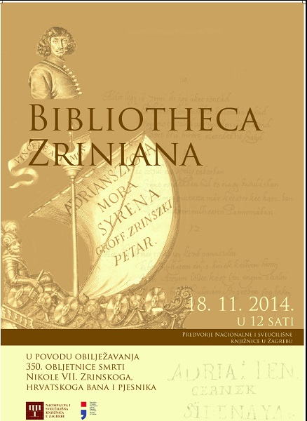 Poster for the NUL exhibition highlighting the treasures of the Bibliotheca Zriniana collection.