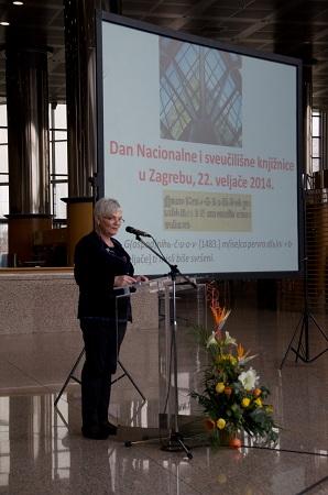 Glavna ravnateljica Nacionalne i sveučilišne knjižnice u Zagrebu, Dunja Seiter-Šverko održala je prigodno izlaganje.