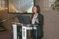 Ana Škvarić (Muzej grada Koprivnice) na Devetom festivalu hrvatskih digitalizacijskih projekata u Nacionalnoj i sveučilišnoj knjižnici u Zagrebu.