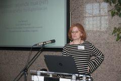 Ana Barbarić (Filozofski fakultet Sveučilišta u Zagrebu) na Devetom festivalu hrvatskih digitalizacijskih projekata u Nacionalnoj i sveučilišnoj knjižnici u Zagrebu.