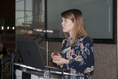 Anita Ruso (Filozofski fakultet Sveučilišta u Zagrebu) na Devetom festivalu hrvatskih digitalizacijskih projekata u Nacionalnoj i sveučilišnoj knjižnici u Zagrebu.