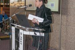 Jelena Bilić (Ministarstvo kulture RH, Služba za digitalizaciju kulturne baštine) na Devetom festivalu hrvatskih digitalizacijskih projekata u Nacionalnoj i sveučilišnoj knjižnici u Zagrebu.