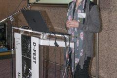 Jasenka Ferber Bogdan (Hrvatska akademija znanosti i umjetnosti, Arhiv za likovne umjetnosti) na Devetom festivalu hrvatskih digitalizacijskih projekata u Nacionalnoj i sveučilišnoj knjižnici u Zagrebu.