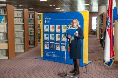 Glavna ravnateljica NSK dr. sc. Tatijana Petrić na otvorenju Europskoga dokumentacijskog centra NSK.
