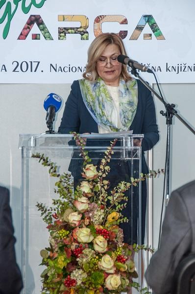 Glavna ravnateljica Nacionalne i sveučilišne knjižnice u Zagrebu dr. sc. Tatijana Petrić na svečanome otvorenju 15. međunarodne izložbe inovacija ARCA 2017.