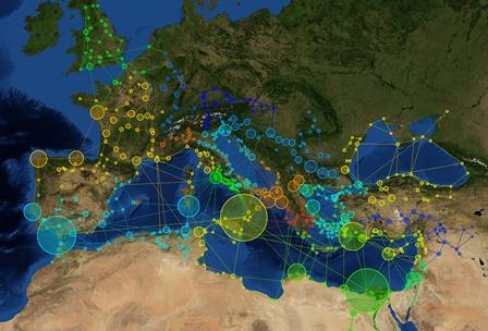 Mrežni prikaz prometnih pravaca u Rimskom Carstvu (prilagođen prema sustavu ORBIS, http://orbis.stanford.edu/). (Izvor: J. Preiser‐Kapeller, Austrijska akademija znanosti).