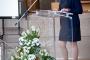 """Dr. sc. Tatijana Petrić, glavna ravnateljica Nacionalne i sveučilišne knjižnice u Zagrebu na otvorenju izložbe """"Machinae novae – 400 godina poslije""""."""