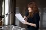 """Akademska glumica Amanda Prenkaj na otvorenju izložbe """"Machinae novae – 400 godina poslije""""."""