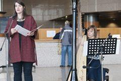 Harfistica Tajana Vukelić Peić i sopranistica Marija Lešaja na otvaranju izložbe u povodu 200. obljetnice rođenja Vatroslava Lisinskoga.