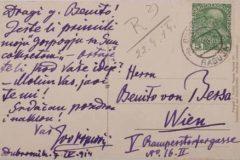 Razglednica Iva Vojnovica upućena Blagoju Bersi, zadnja strana.