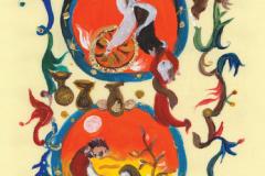"""Motiv iz promidžbene grafičke mape """"Korizmenjak"""" – """"Prorok Ilija"""". Ilustratorica:  Vjera Reiser."""