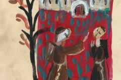 "Motiv iz promidžbene grafičke mape ""Korizmenjak"" – ""Drvo posluha"". Ilustratorica:  Vjera Reiser."