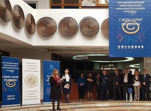 """Predstavnica NSK Jasenka Zajec na 15. tjednu knjižnica u organizaciji Nacionalne knjižnice Kosova """"Pjetër Bogdani""""."""