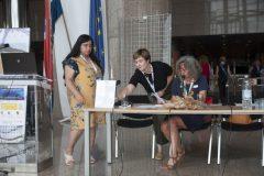 Izlagačica dr. sc. H. Inci Önal (Turska) te moderatorice Matilde Fontanin i Iva Klak Mršić na pretkonferenciji CPDWL u NSK 21. kolovoza 2019. godine.