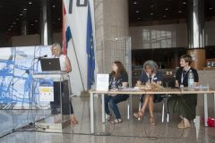 Izlagačice Janja Maras i Marija Pipp (Knjižnice grada Zagreba) te moderatorice Matilde Fontanin i Iva Klak Mršić na pretkonferenciji CPDWL u NSK 21. kolovoza 2019. godine.