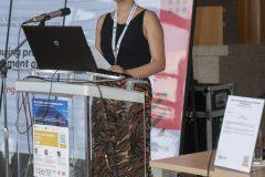 Izlagačica Antonija Filipeti (Nacionalna i sveučilišna knjižnica u Zagrebu) na pretkonferenciji CPDWL u NSK 21. kolovoza 2019. godine.