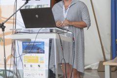 Izlagačica Marija Šimunović (Sveučilište u Zagrebu) na pretkonferenciji CPDWL u NSK 21. kolovoza 2019. godine.
