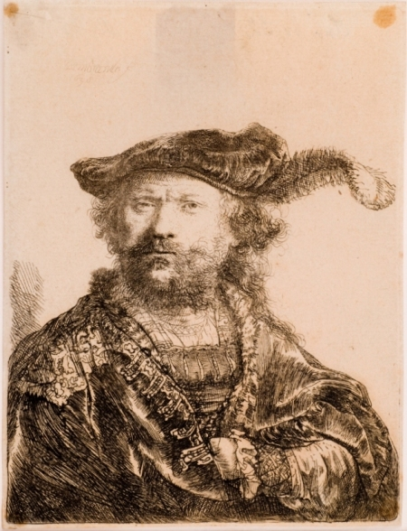 Self-portrait; engraved by Rembrandt Harmenszoon van Rijn, Amsterdam, 1638