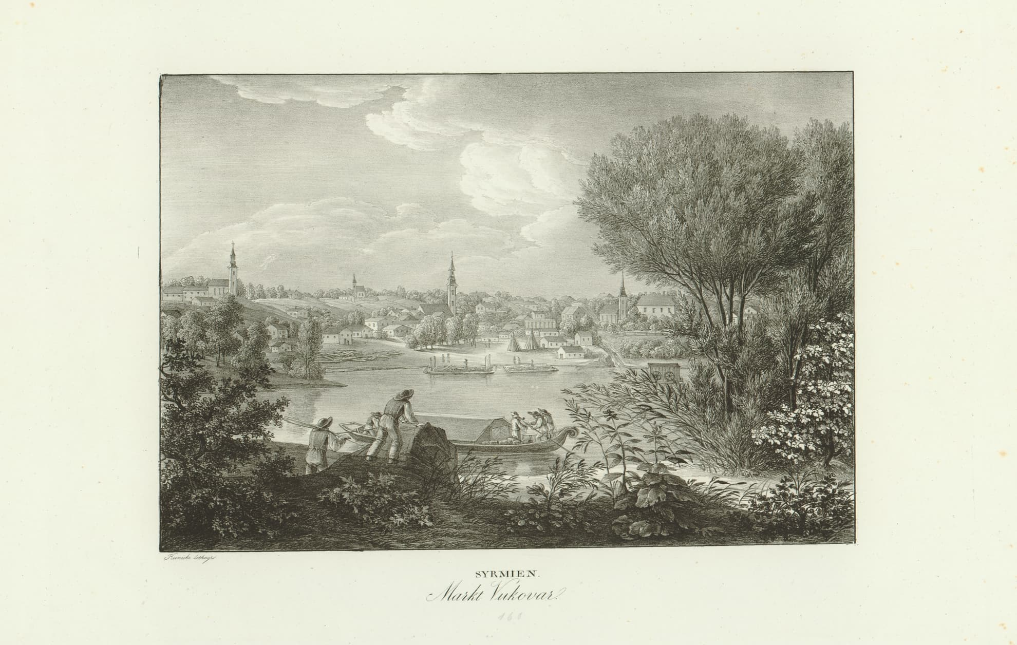 Syrmia, the Vukovar fair (Syrmien : Markt Vukovar), a lithograph, Vienna, 1819 – 1826. Print Collection of the National and University Library in Zagreb.
