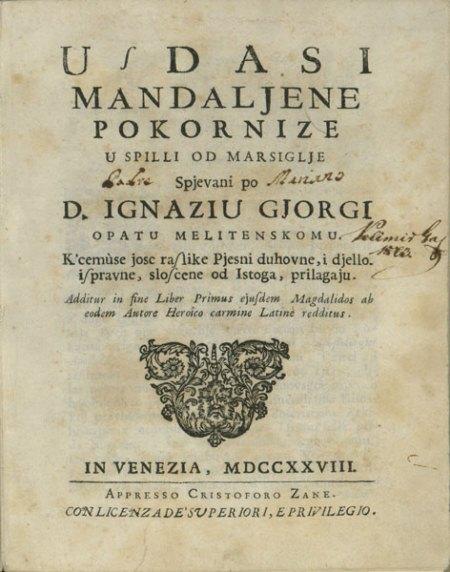 """Ignjat Đurđević """"Uzdasi Mandalijene pokornice""""."""
