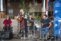 """A musical performance of traditional Croatian songs by Lidija Bajuk Quartet at the opening of """"Solidarity in culture: Heritage protection under conditions of crisis"""", NSK 2021 international virtual conference. National and University Library in Zagreb, 18 March 2021."""