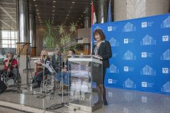 Chair of the Programme and Organising Committees of the NSK 2021 international virtual conference on heritage protection and Head of the NSK Preservation and Storage Department Dr Dragica Krstić at the conference opening. National and University Library in Zagreb, 18 March 2021.