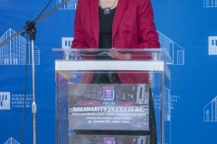 """Croatian Minister of Culture and Media Dr Nina Obuljen Koržinek at the opening of """"Solidarity in culture: Heritage protection under conditions of crisis"""", NSK 2021 international virtual conference. National and University Library in Zagreb, 18 March 2021."""