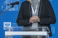 Member of the Programme Committee of the NSK 2021 international virtual conference on heritage protection and Senior Archivist at the NSK Preservation and Storage Department Dr Tamara Štefanac at the conference opening. National and University Library in Zagreb, 18 March 2021.