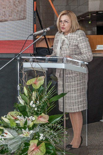 Glavna ravnateljica Nacionalne i sveučilišne knjižnice u Zagrebu dr. sc. Tatijana Petrić na svečanome obilježavanju Dana NSK 2018. godine.