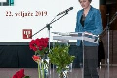 Članica Odbora za Nagradu i priznanje Nacionalne i sveučilišne knjižnice u Zagrebu Karolina Holub na svečanome obilježavanju Dana NSK 2019. godine.
