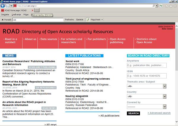 ROAD (Directory of open access scholarly resources) – Baza podataka znanstvene neomeđene u otvorenome pristupu.