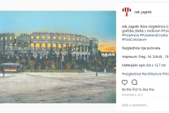 A digitised version of the old postcard of Pula preserved in the NSK Print Collection on the Instagram profile of the National and University Library in Zagreb.