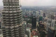 A view of Kuala Lumpur from the Petronas Towers, the highest twin towers in the world.