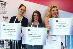 Dragana Koljenik, from the NSK Croatian Digital Library Development Division, and the representatives of two other libraries winning the IFLA BibLibre International Marketing Award 2018, at IFLA WLIC 2018.