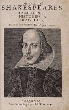 Naslovna stranica prvog tiskanog izdanja Shakespeareovih sabranih djela iz 1623. godine. Izvor: http://www.wikipedia.org/.