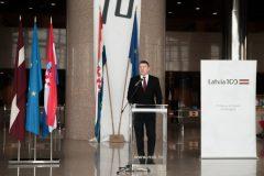 """Predsjednik Republike Latvije  Raimonds Vējonis na  otvorenju izložba """"Latvia's Century""""."""