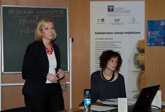 Annemari Štimac iz Državnoga zavoda za intelektualno vlasništvo i Renata Petrušić iz Nacionalne i sveučilišne knjižnica u Zagrebu na radionici o djelima siročadi.