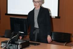 Izlaganje voditeljice Odjela Obrada NSK Tanje Buzine na stručnom programu u sklopu potpisivanja Sporazuma o suradnji na razvoju i održavanju Hrvatskog nacionalnog skupnog kataloga.