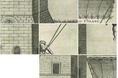 Slagalica triju poznatih Vrančićevih opisanih konstrukcija – letećega čovjeka, željeznoga mosta i nosiljke.