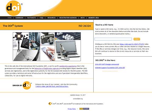 Mrežne stranice Međunarodne zaklade za DOI (International DOI Foundation, IDF).