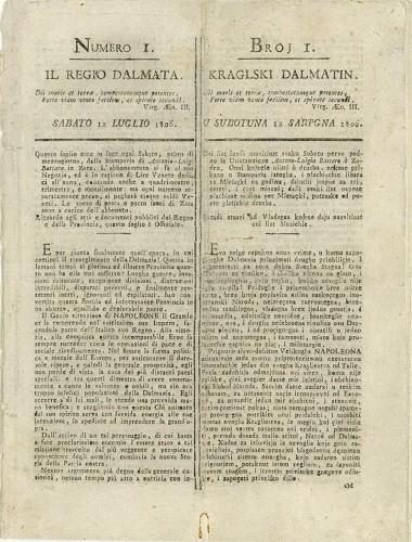 """""""Kraljski Dalmatin – Il Regio Dalmata"""" ( 1806. – 1810.), prve novinske vijesti na hrvatskome jeziku."""