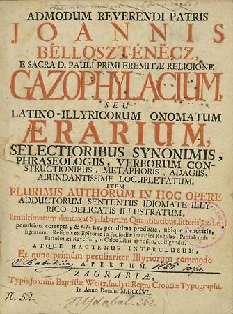 """Ivan Belostenec. """"Gazophylacium"""", 1740."""
