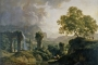 "Franc Kavčič. ""Idealni krajobraz s mladićem koji ubija zmiju"" (prije 1810.). Nacionalna galerija Slovenije. Izvor: http://www.europeana.eu/portal/en/exhibitions/faces-of-europe/."